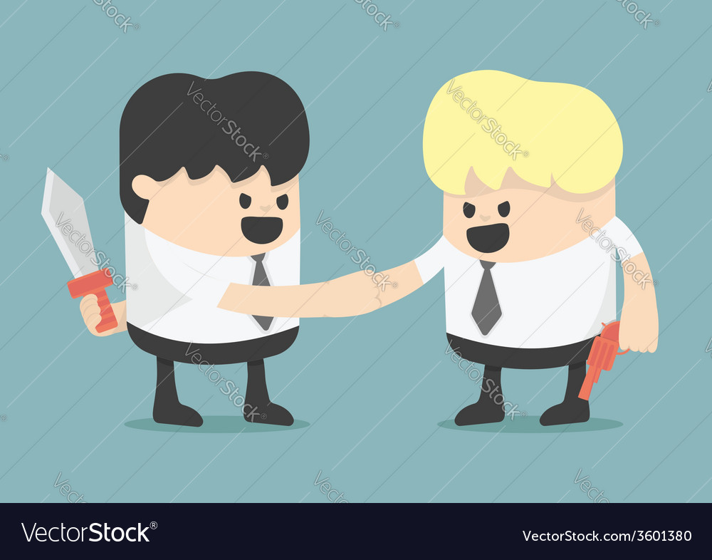 Businessman shaking hands while holding weapon vector | Price: 1 Credit (USD $1)