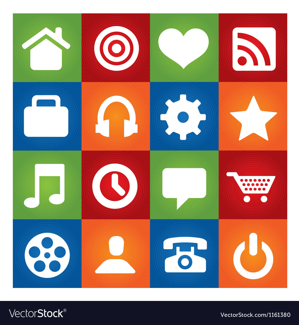 Colored user interface pictograms set isolated vector | Price: 1 Credit (USD $1)