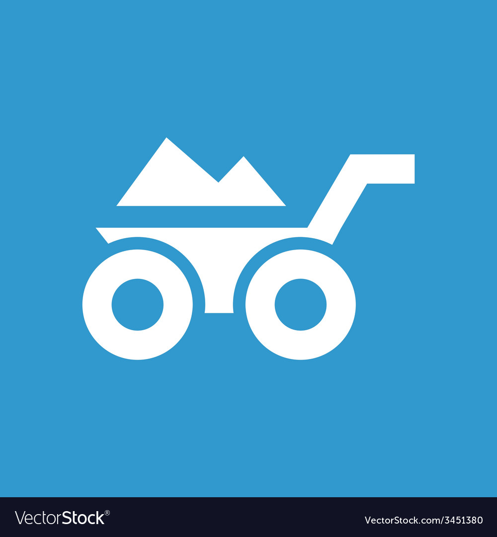 Construction wheelbarrow icon white on the blue vector | Price: 1 Credit (USD $1)