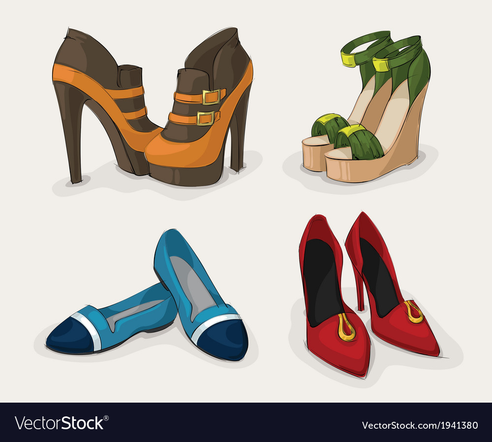 Fashion womans shoes collection vector | Price: 1 Credit (USD $1)
