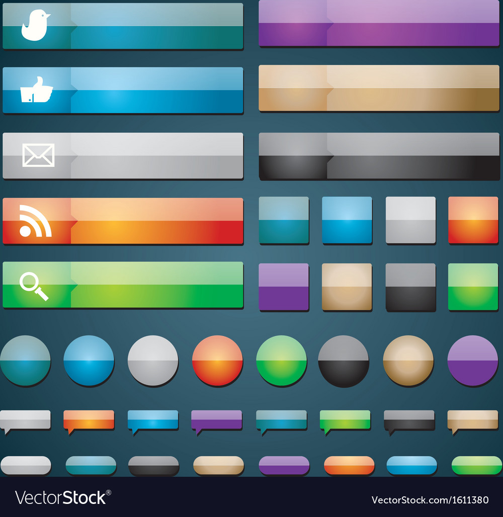Glossy web buttons vector | Price: 1 Credit (USD $1)