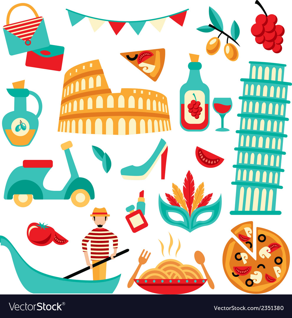 Italy decorative set vector | Price: 1 Credit (USD $1)