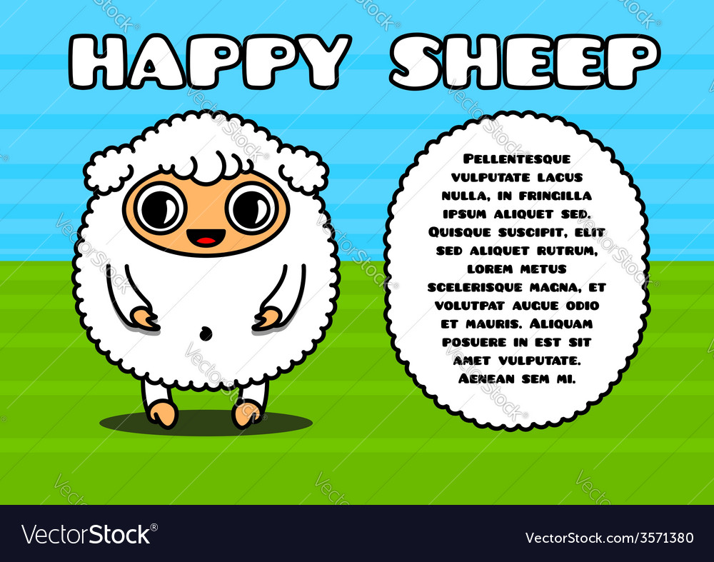 Kawaii card with sheep character vector | Price: 1 Credit (USD $1)