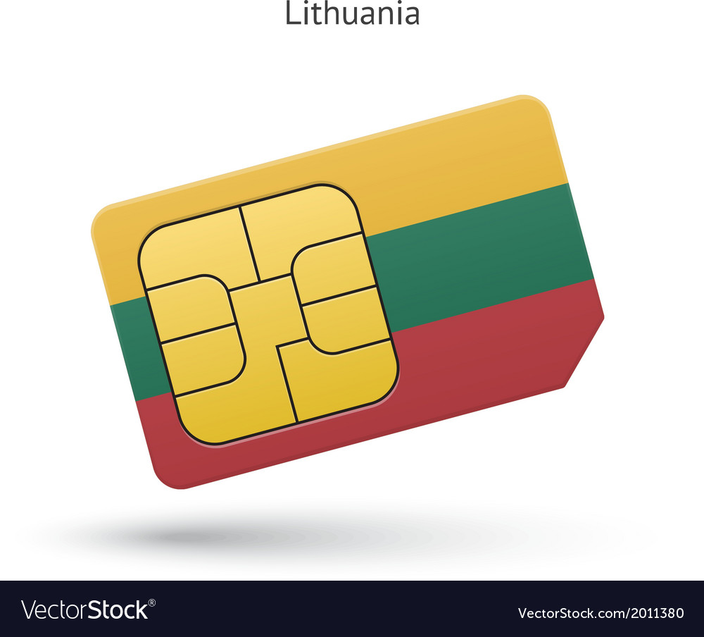 Lithuania mobile phone sim card with flag vector   Price: 1 Credit (USD $1)