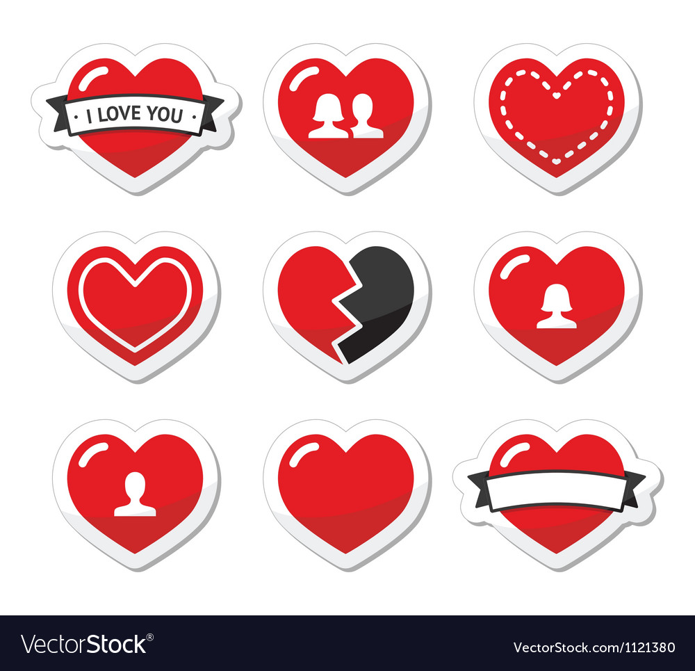 Love hearts labels set for valentines day vector | Price: 1 Credit (USD $1)