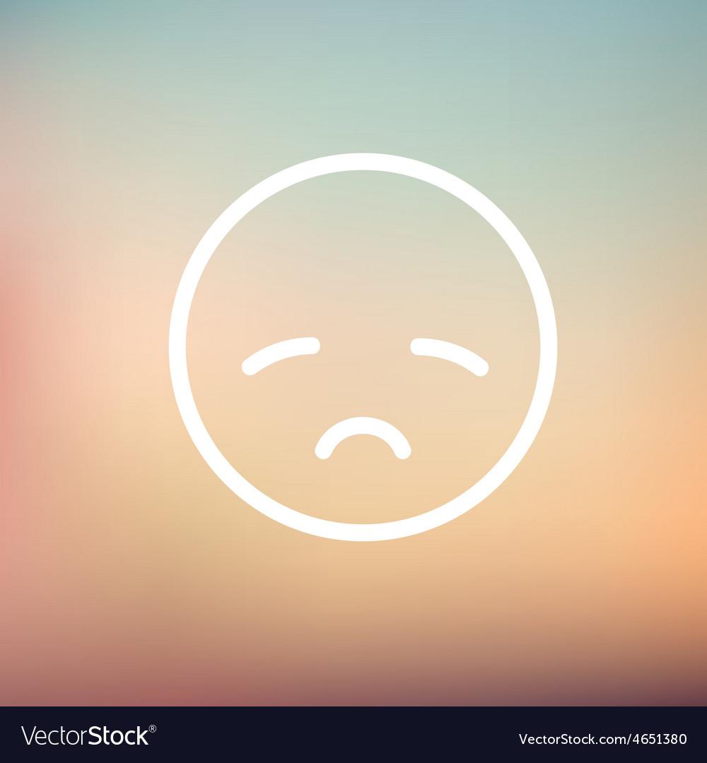 Sad face thin line icon vector   Price: 1 Credit (USD $1)