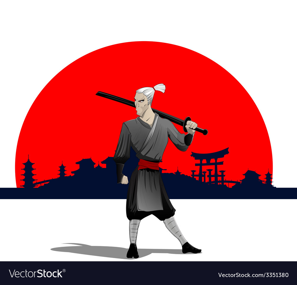 Samurai with sword vector | Price: 3 Credit (USD $3)