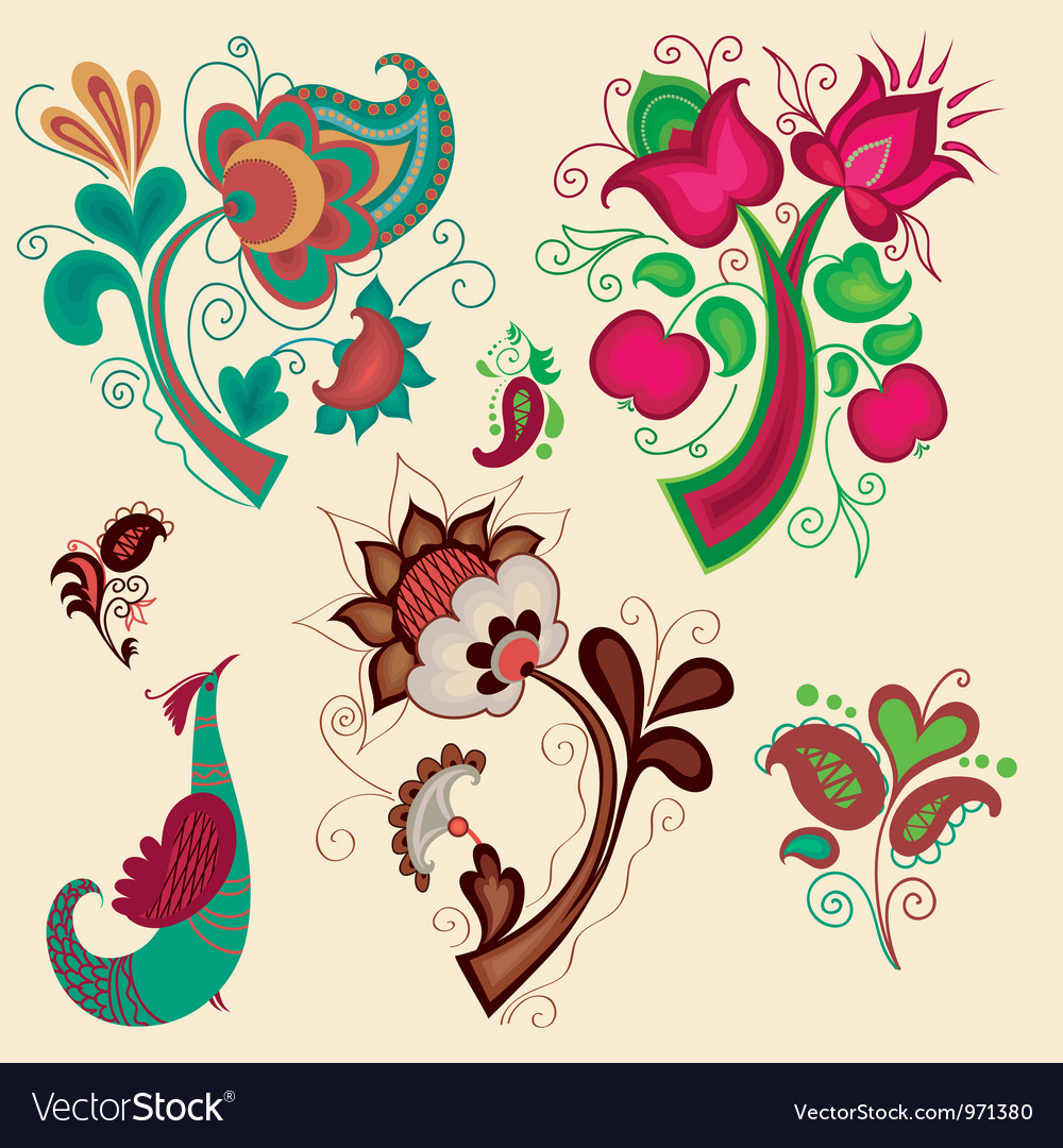 Set of russian patterns vector