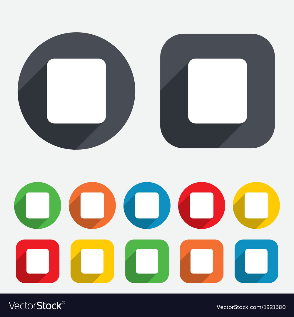 Stop sign icon player navigation button vector | Price: 1 Credit (USD $1)