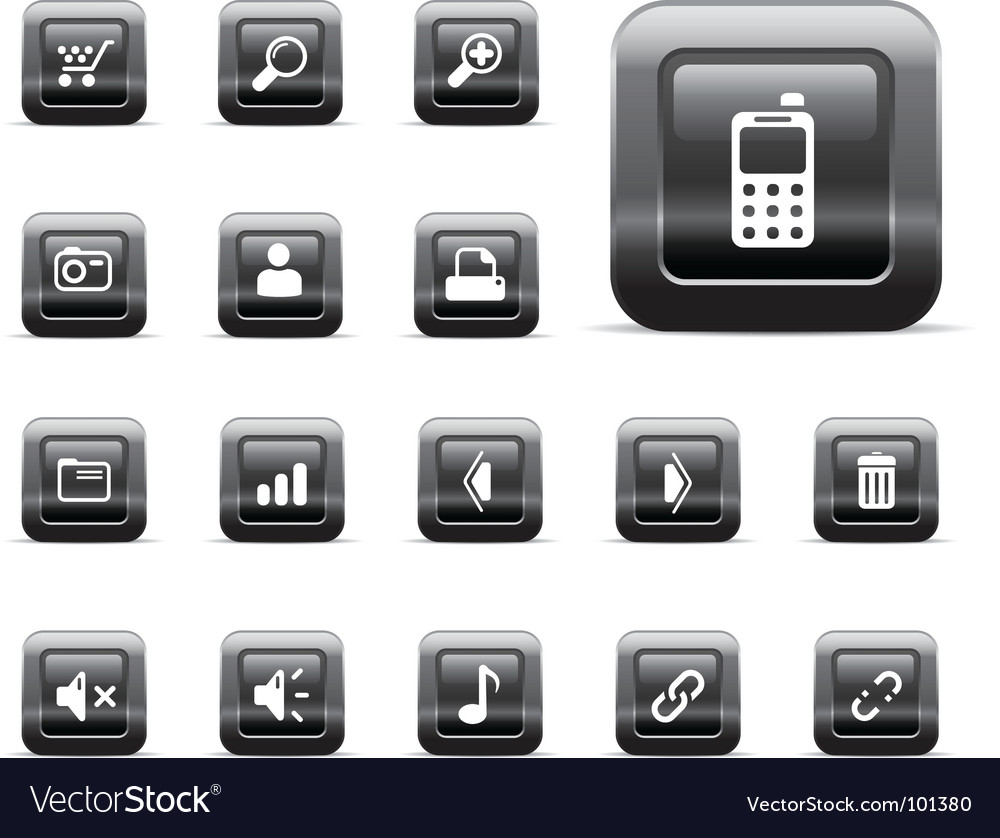 Web icons black chrome vector | Price: 1 Credit (USD $1)