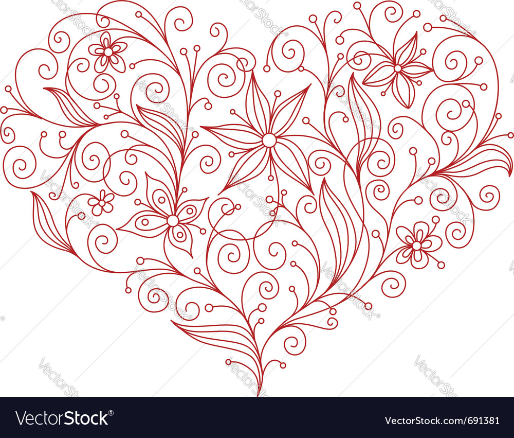 Abstract floral heart vector | Price: 1 Credit (USD $1)