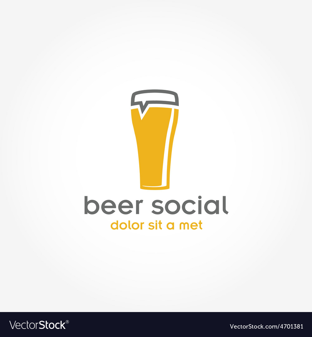 Beer glass pub design template vector | Price: 1 Credit (USD $1)