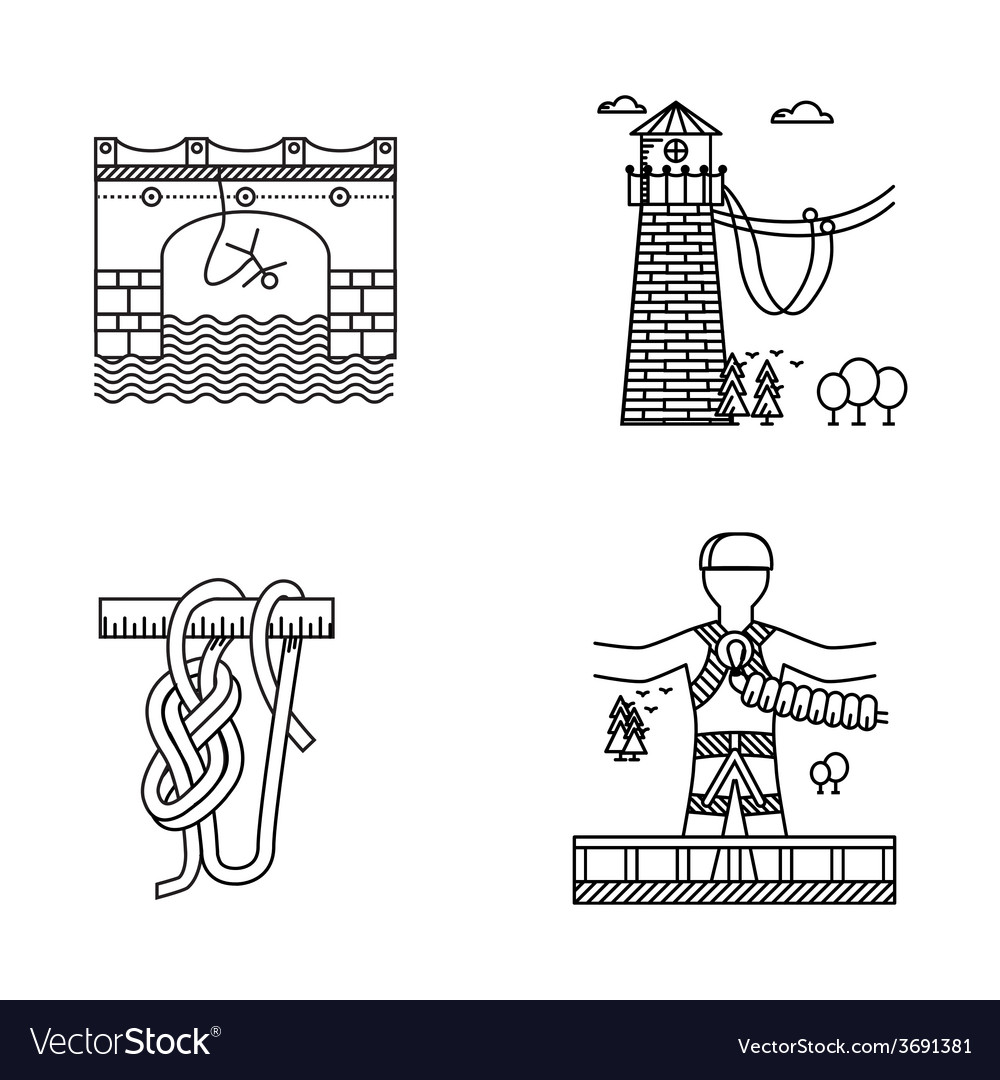 Black outline icons for rope jumping vector | Price: 1 Credit (USD $1)
