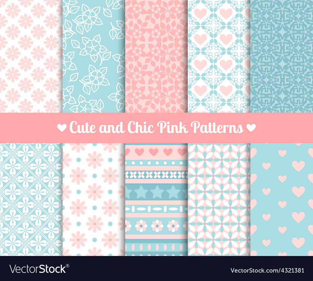 Chic pink and blue patterns vector