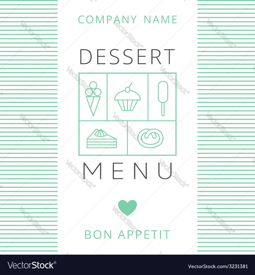 Dessert menu card design template vector | Price: 1 Credit (USD $1)