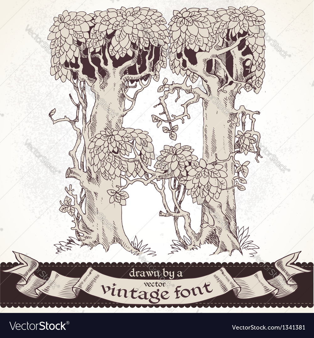 Fable forest hand drawn by a vintage font - h vector | Price: 1 Credit (USD $1)