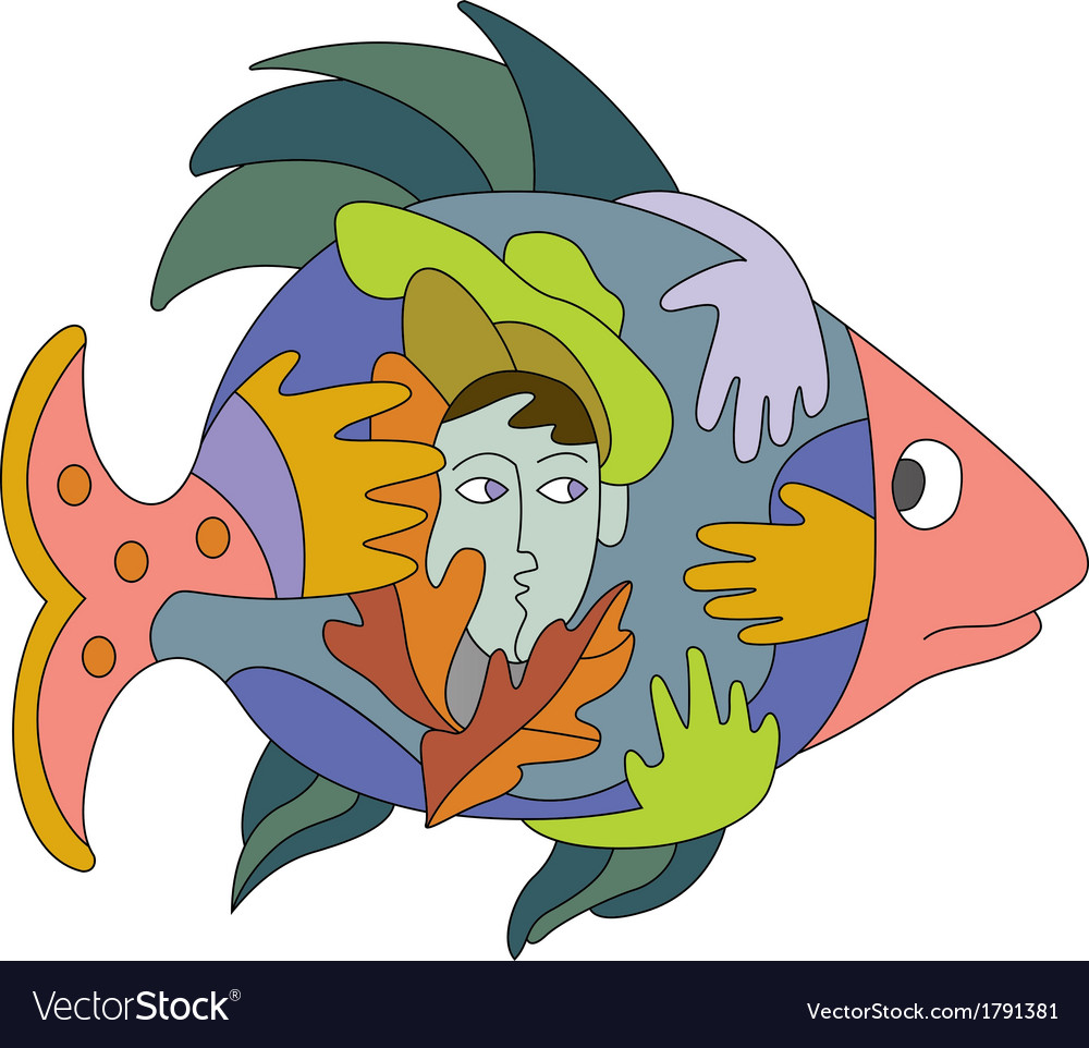 Fish and hands vector | Price: 1 Credit (USD $1)