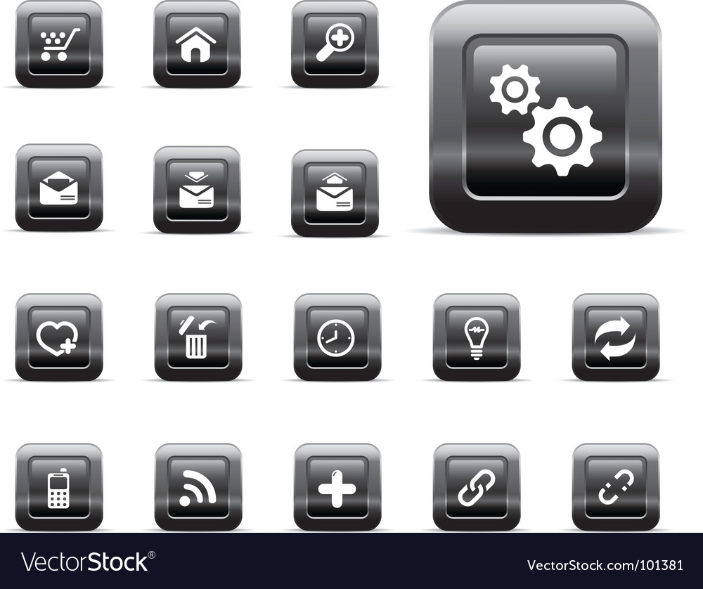 Glossy buttons  black chrome vector | Price: 1 Credit (USD $1)