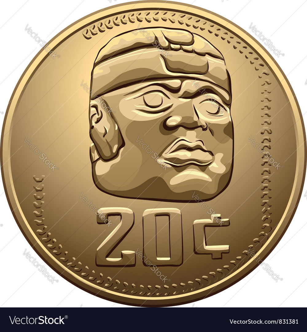 Mexican money gold coin vector | Price: 1 Credit (USD $1)