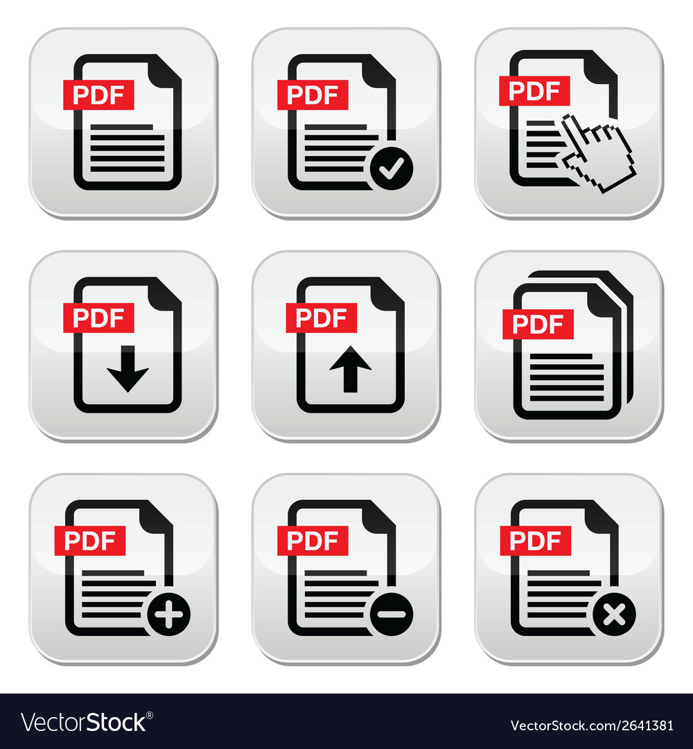 Pdf download and upload buttons set vector | Price: 1 Credit (USD $1)