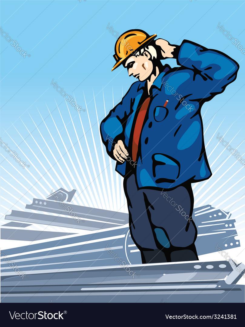 Pensive worker vector | Price: 1 Credit (USD $1)