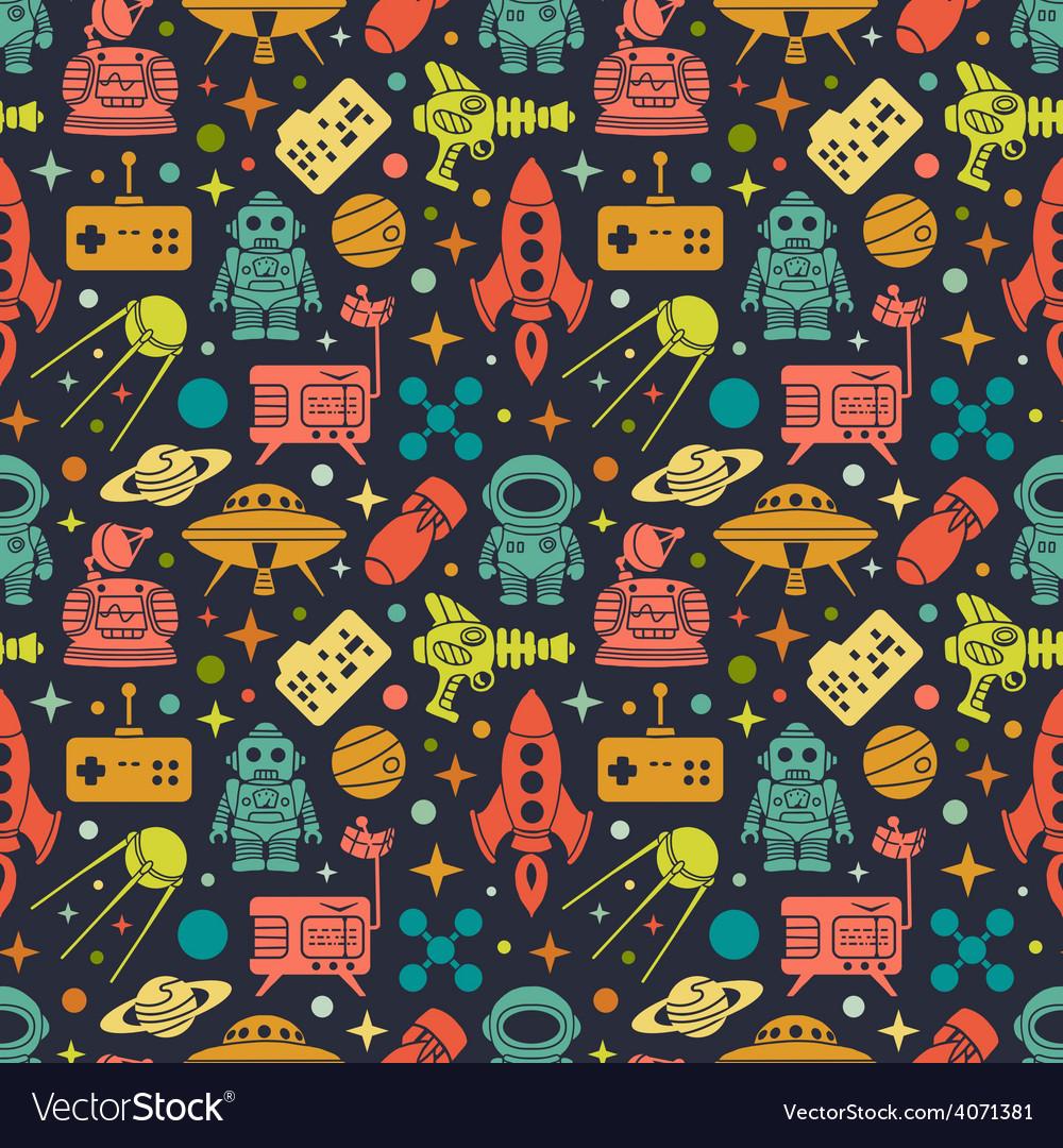 Sci-fi retro pattern vector | Price: 1 Credit (USD $1)