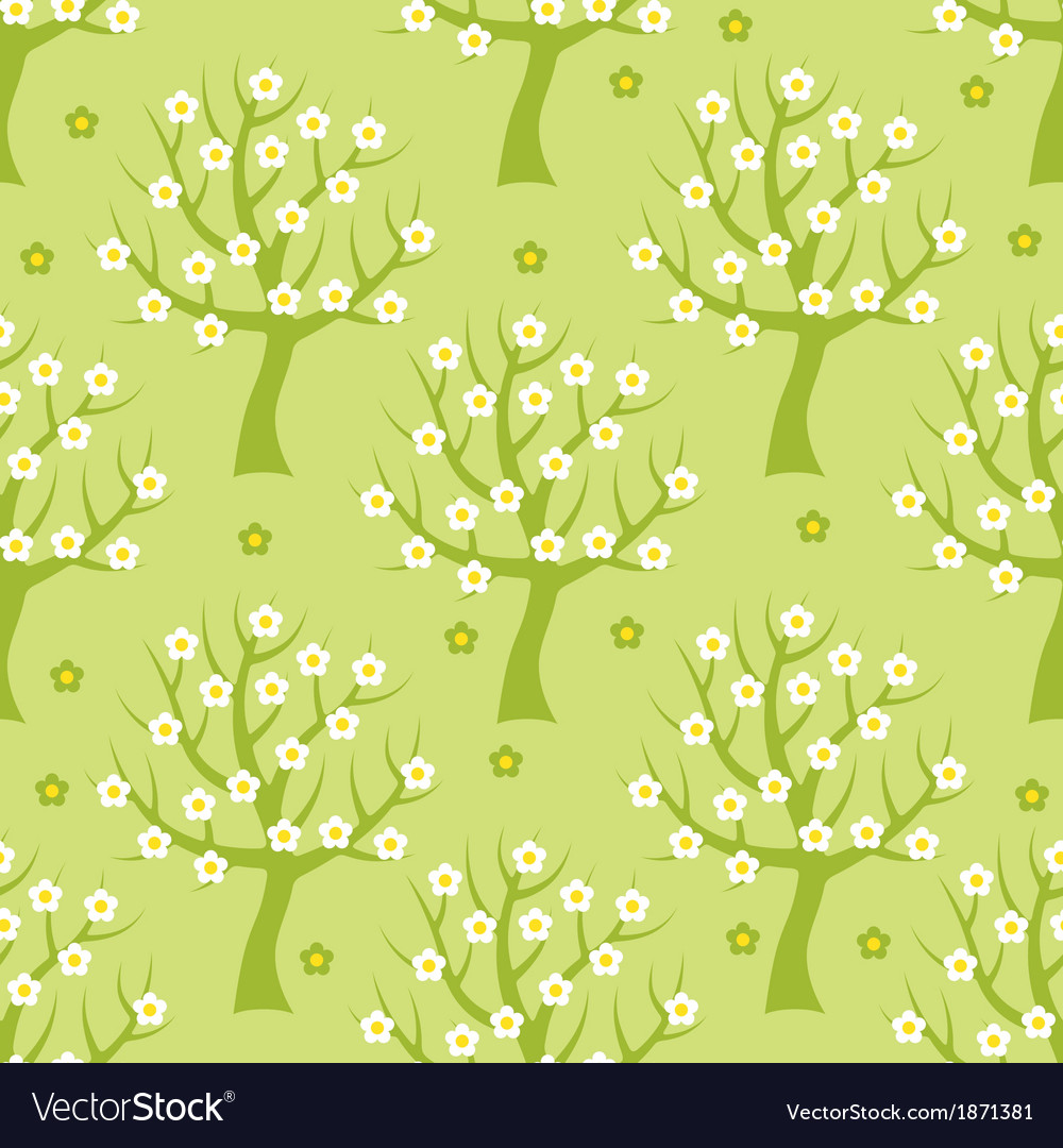 Seamless pattern with spring trees vector | Price: 1 Credit (USD $1)