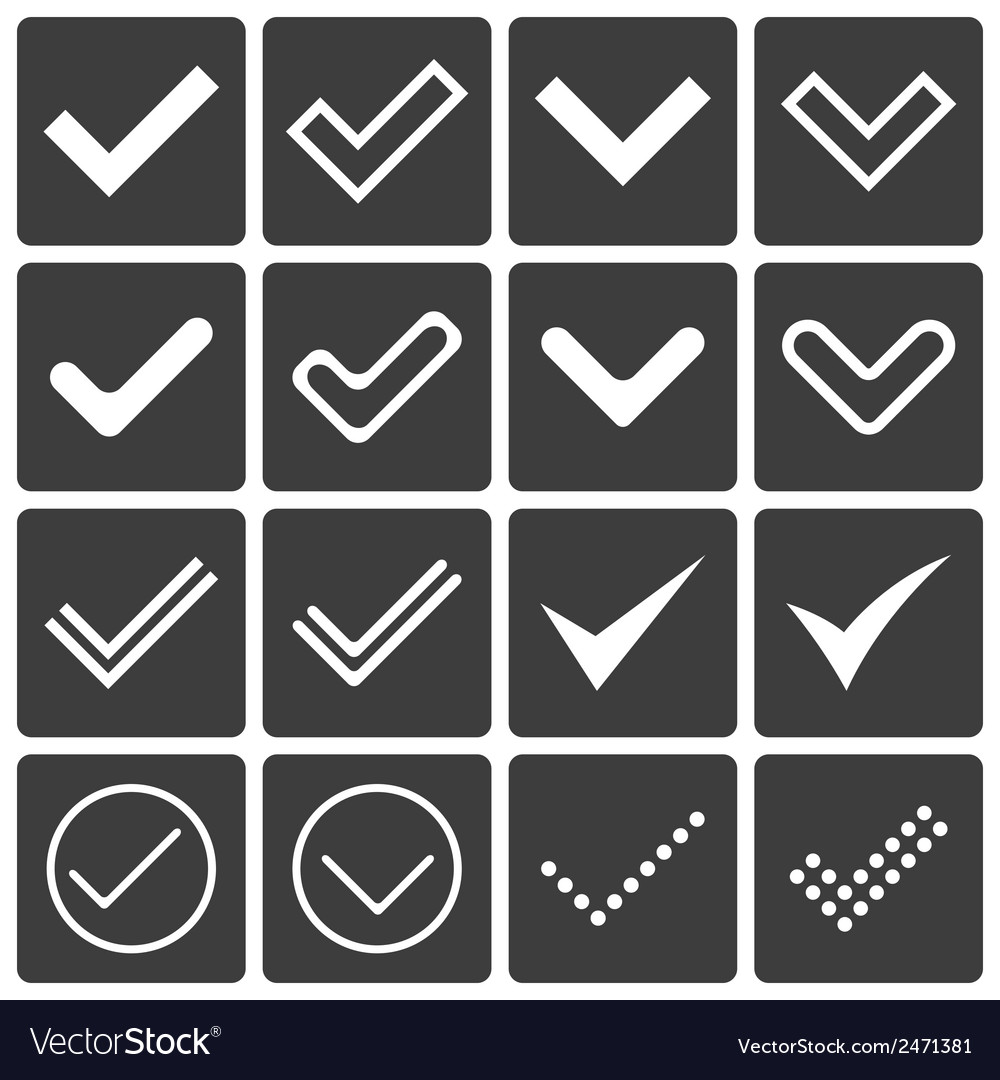 Set of icons ticks check marks vector | Price: 1 Credit (USD $1)