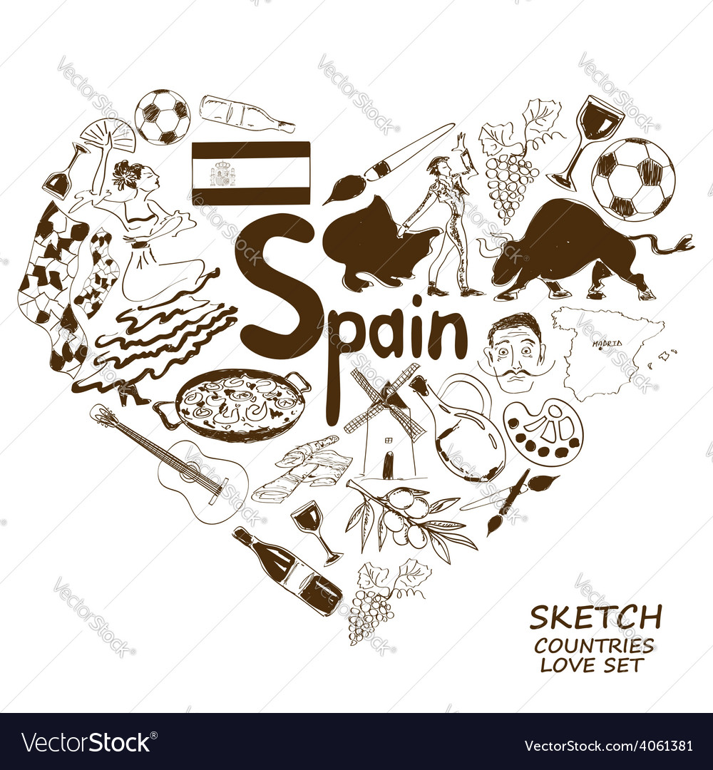 Spanish symbols in heart shape concept vector | Price: 1 Credit (USD $1)