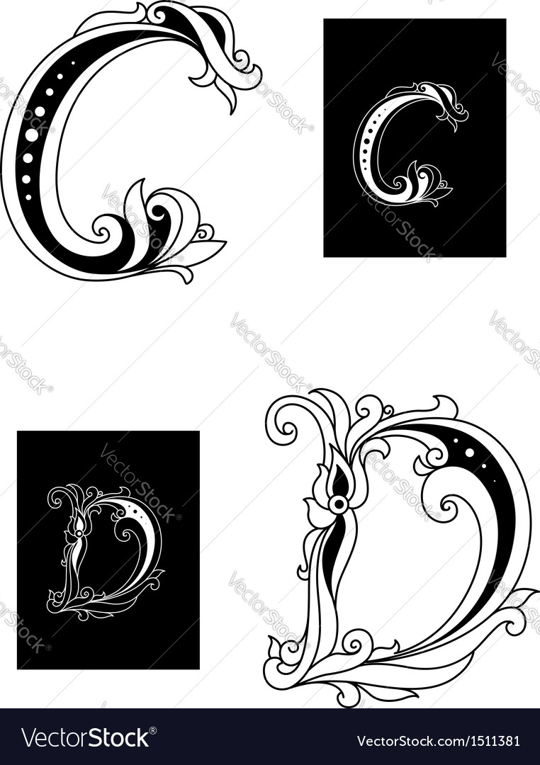 Title letters c and d vector | Price: 1 Credit (USD $1)