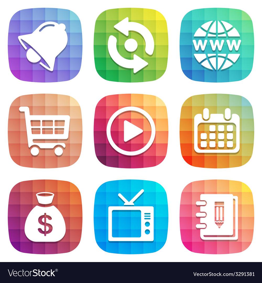 Trendy colorful icon set design element vector | Price: 1 Credit (USD $1)
