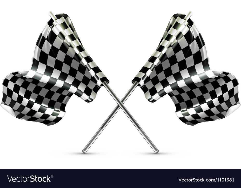 Two crossed checkered flags vector | Price: 1 Credit (USD $1)