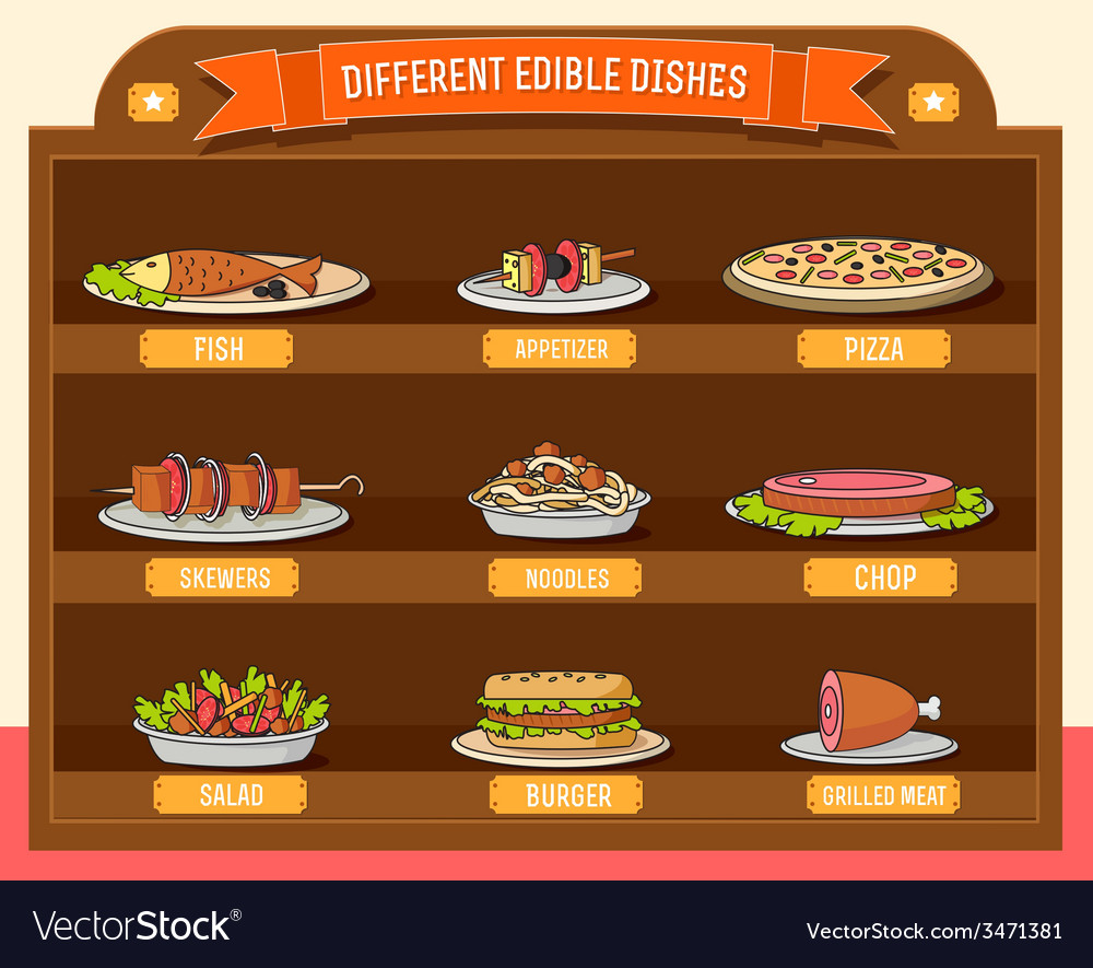 Various dishes background concept design vector | Price: 1 Credit (USD $1)