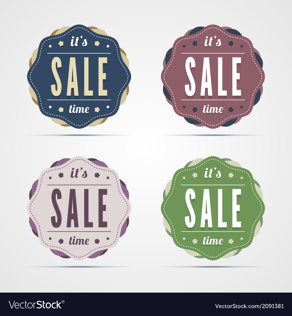 Vintage sale time badges vector | Price: 1 Credit (USD $1)