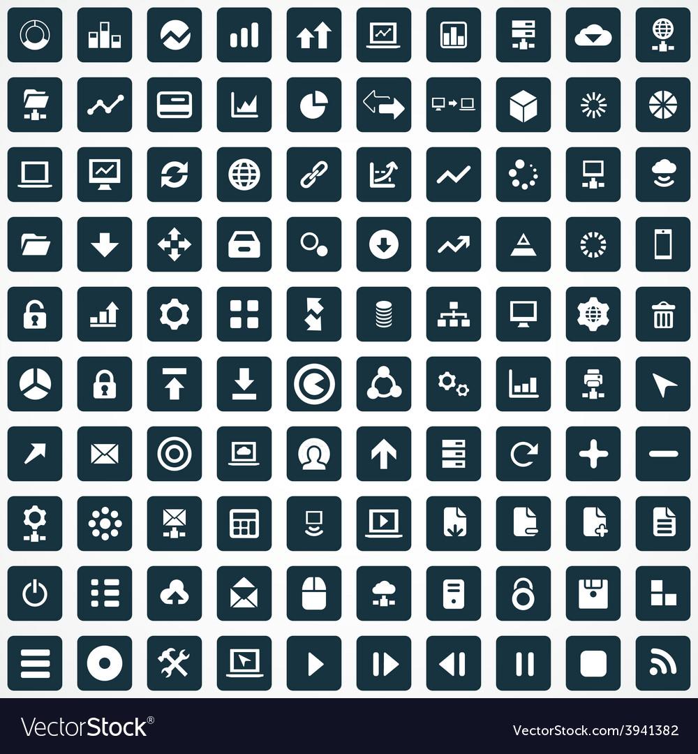 100 big data database icons set vector | Price: 1 Credit (USD $1)