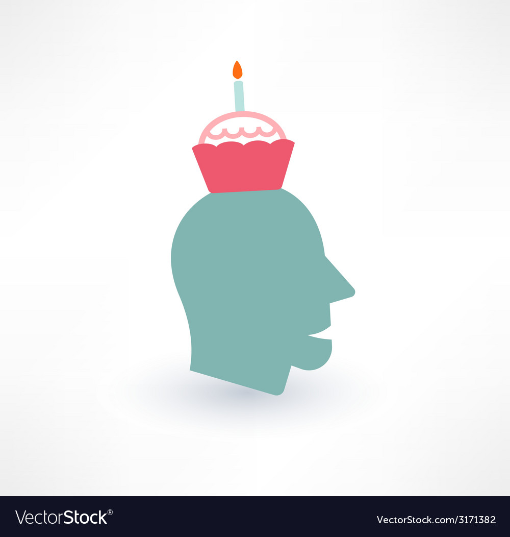 Cake and head icon thoughts about food concept vector | Price: 1 Credit (USD $1)