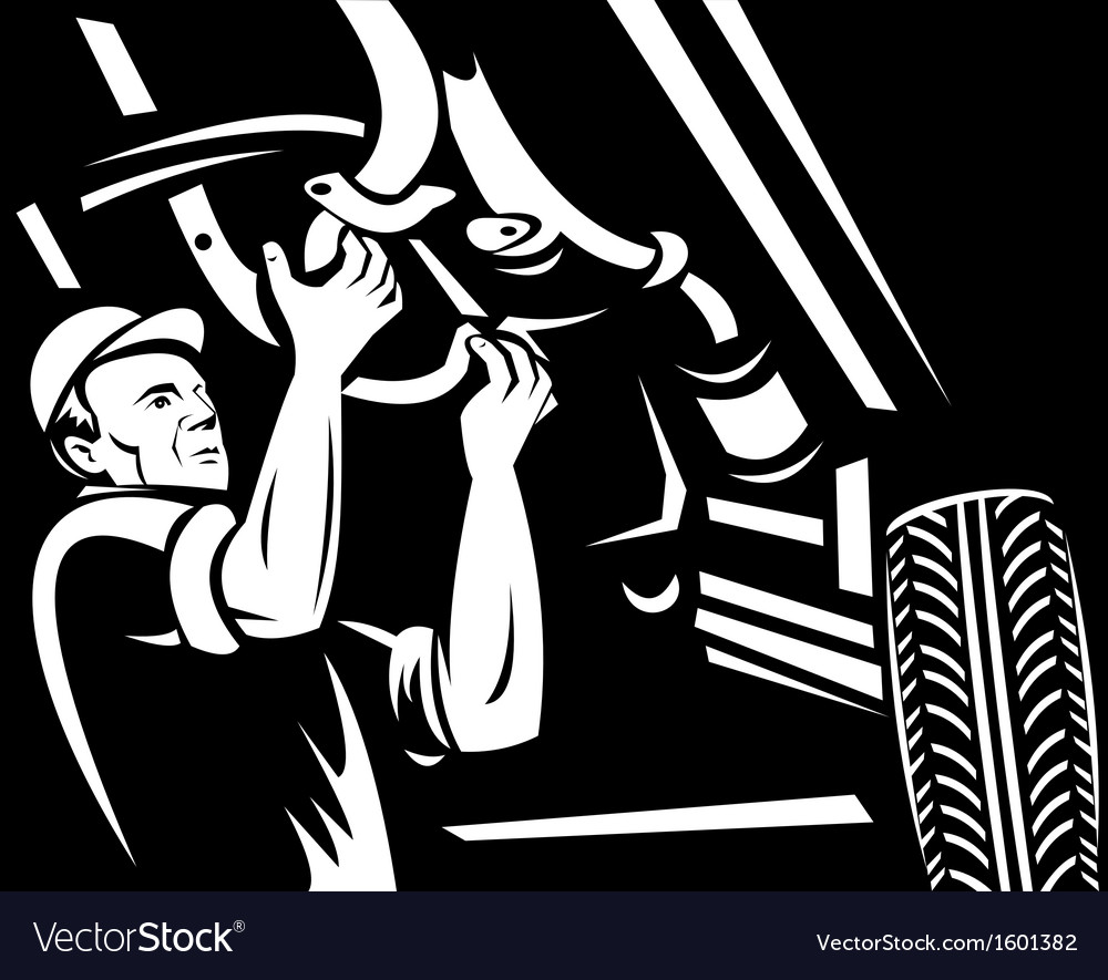 Car mechanic repairing working on auto vehicle vector | Price: 1 Credit (USD $1)