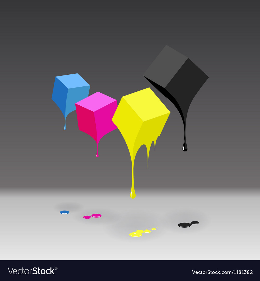 Cmyk cubes with blobs on grey background vector | Price: 1 Credit (USD $1)