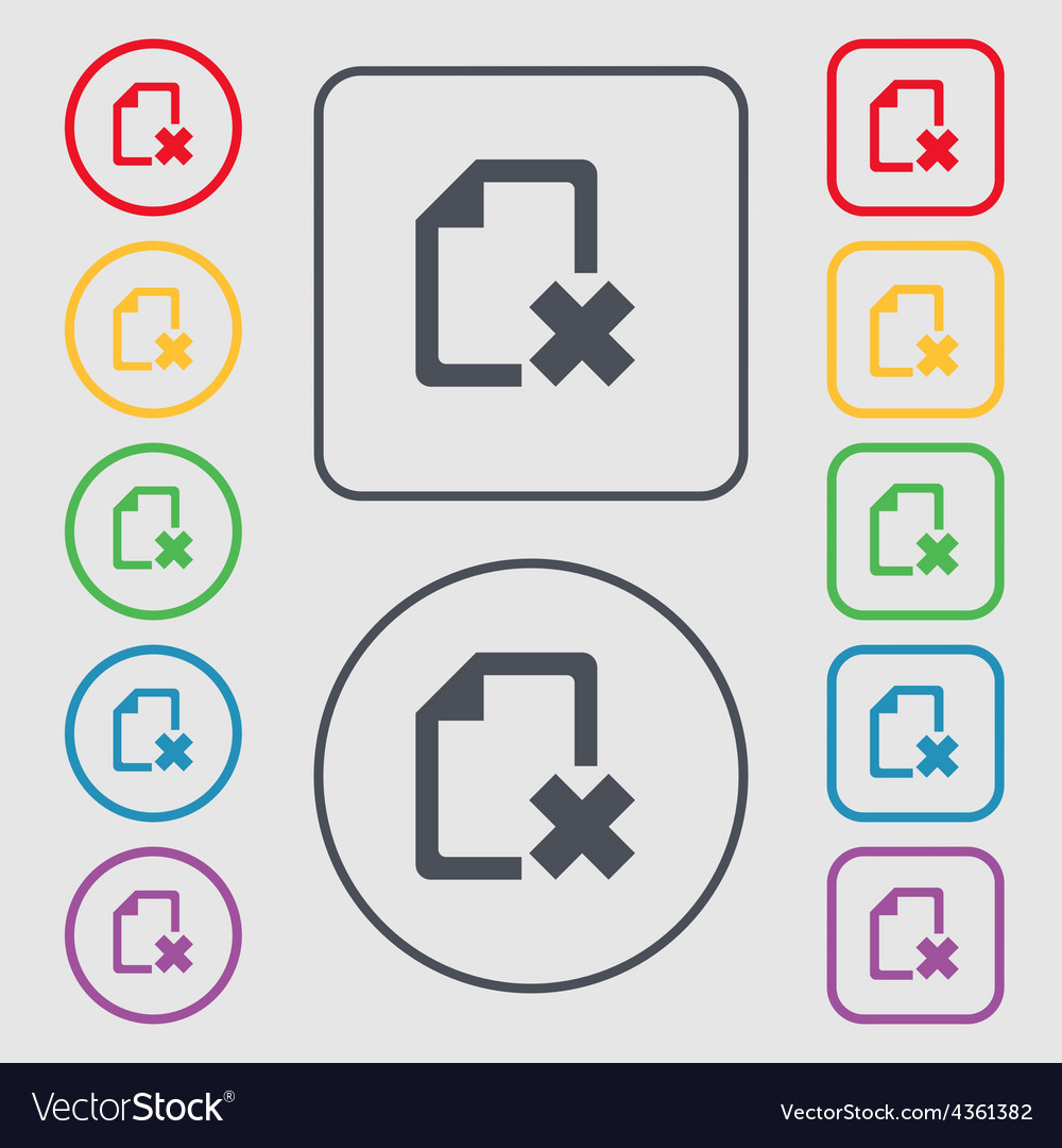 Delete file document icon sign symbol on the round vector | Price: 1 Credit (USD $1)