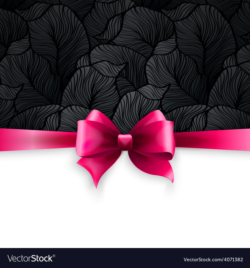Invitation card with pink holiday ribbon on vector | Price: 1 Credit (USD $1)