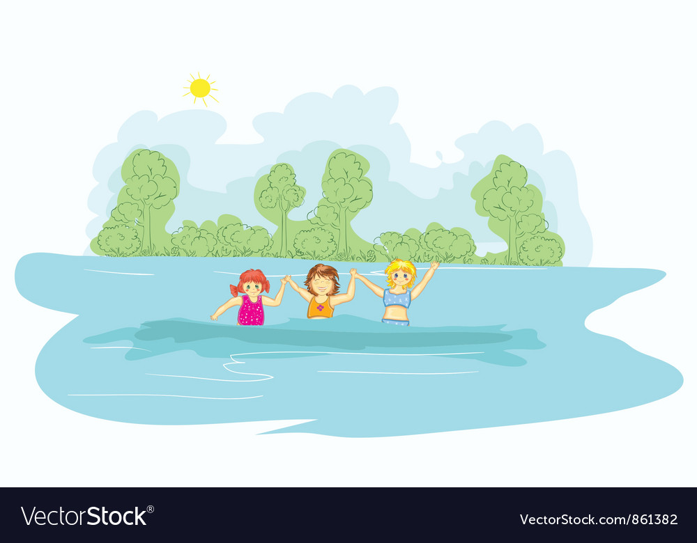Little girls in the water vector | Price: 3 Credit (USD $3)