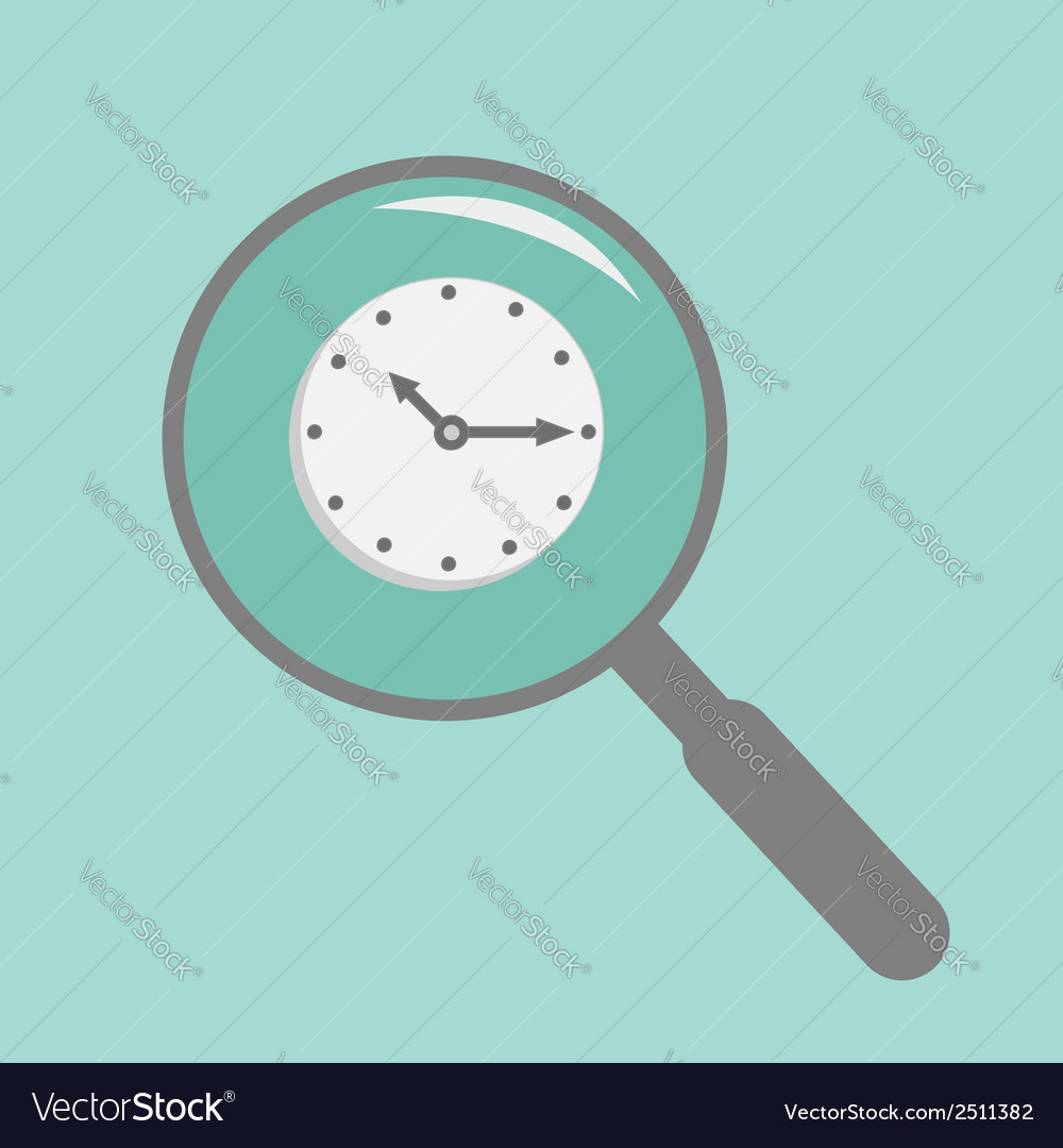 Magnifier and clock flat design style vector | Price: 1 Credit (USD $1)