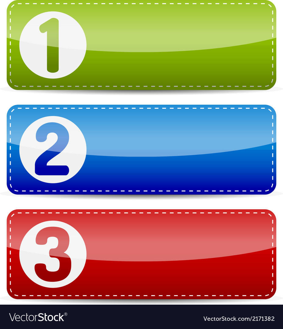 Numbered color step list banner vector | Price: 1 Credit (USD $1)