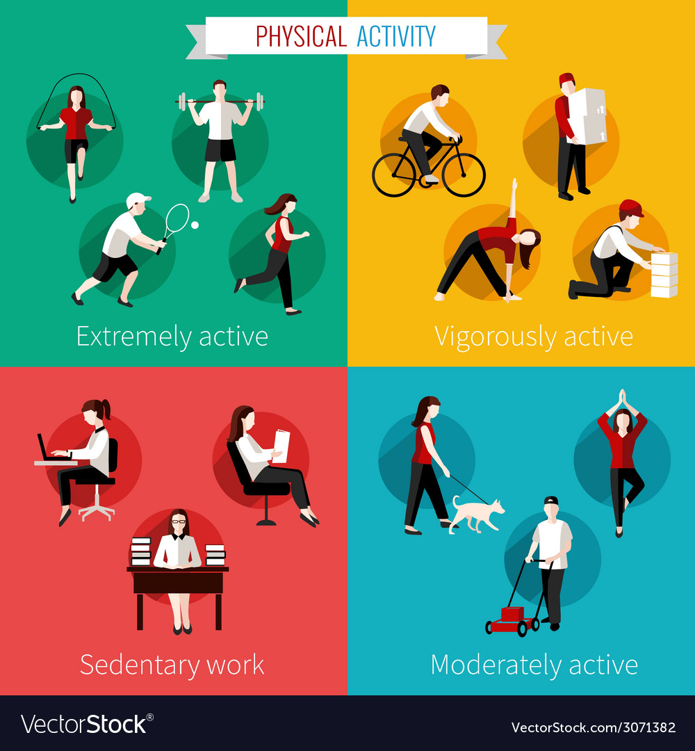 Physical activity flat set vector | Price: 1 Credit (USD $1)
