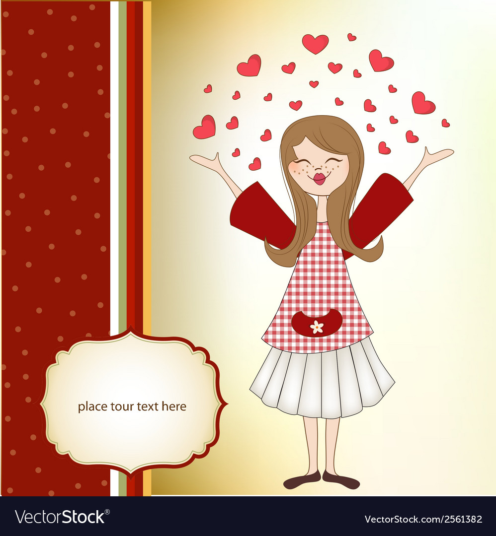 Pretty girl in love vector | Price: 1 Credit (USD $1)