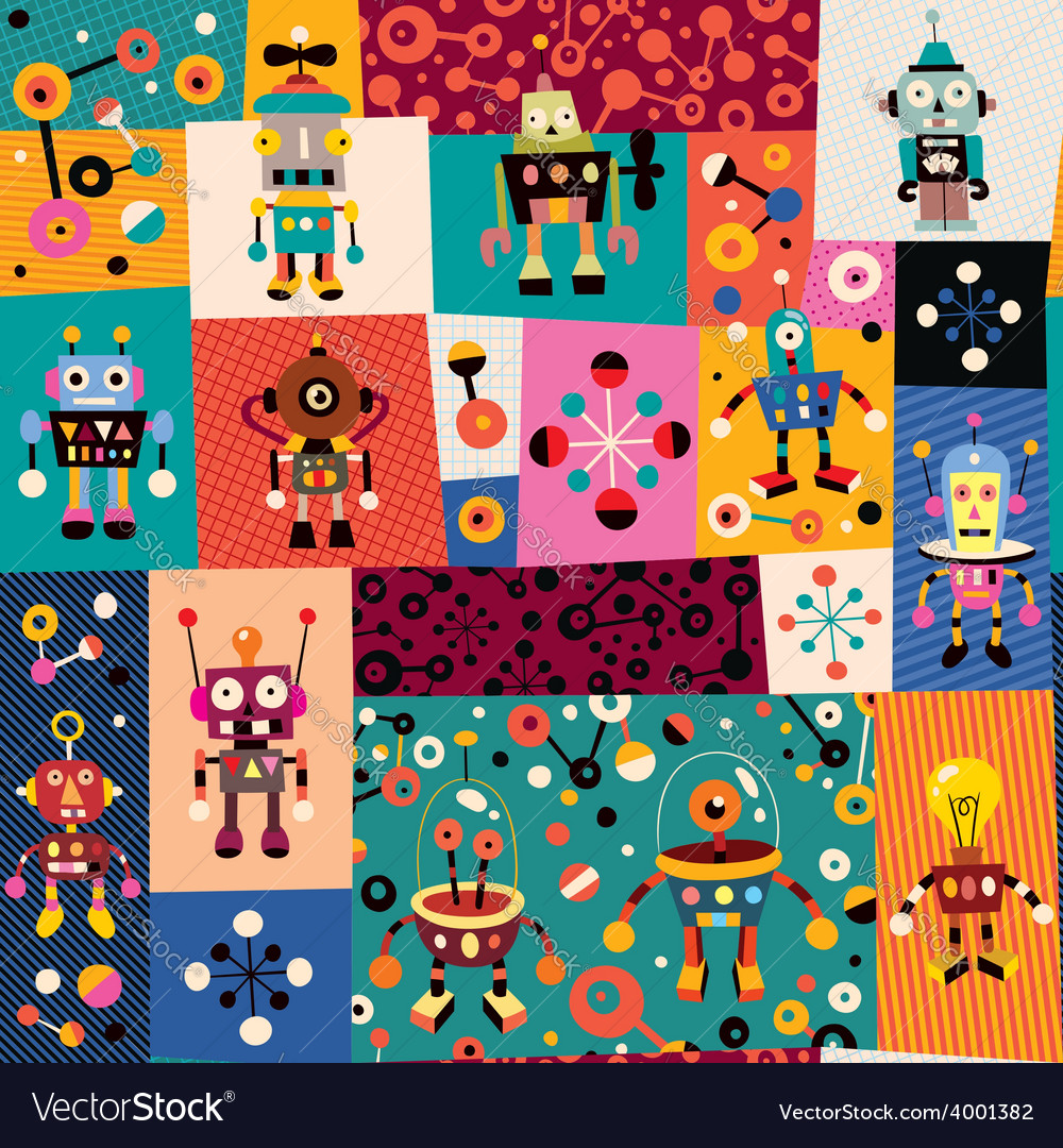 Robots pattern 2 vector | Price: 1 Credit (USD $1)