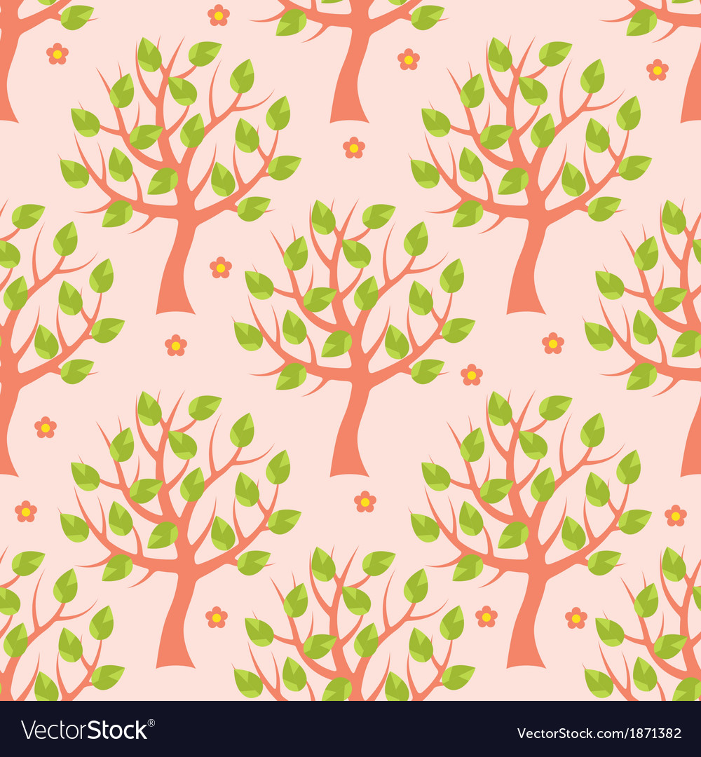 Seamless pattern with summer trees vector | Price: 1 Credit (USD $1)