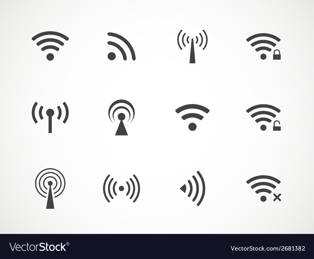 Set of different wireless and wifi icons vector | Price: 1 Credit (USD $1)