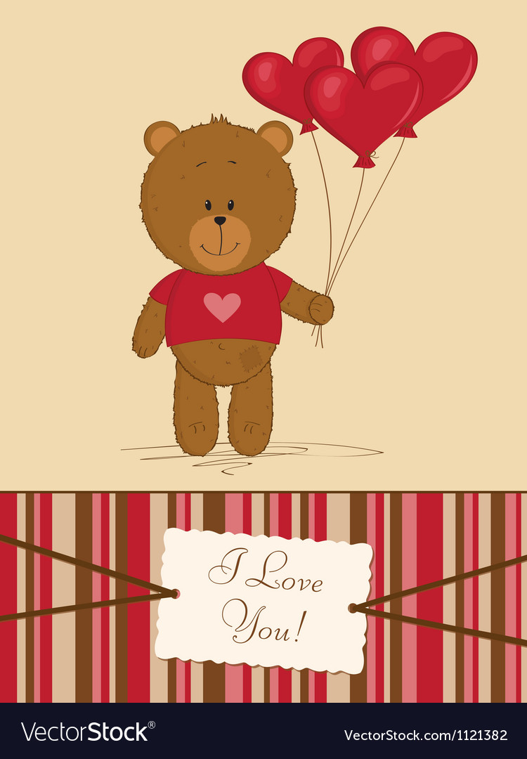 Teddy bear with heart balloons vector | Price: 1 Credit (USD $1)
