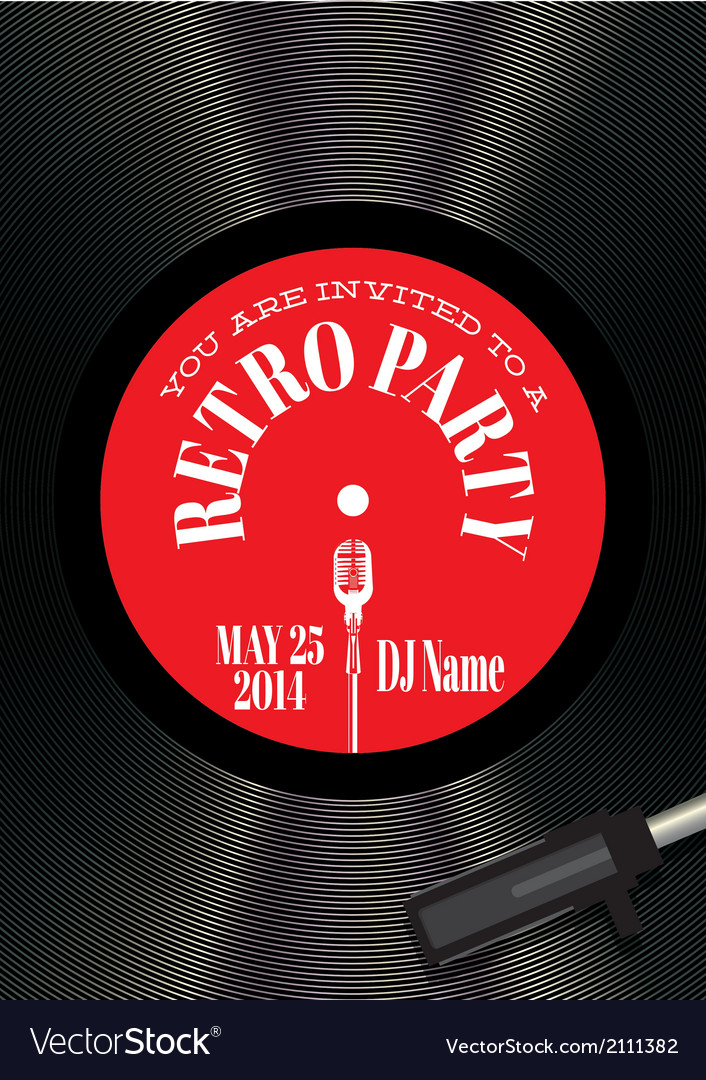 Template for a retro party concert events vector | Price: 1 Credit (USD $1)